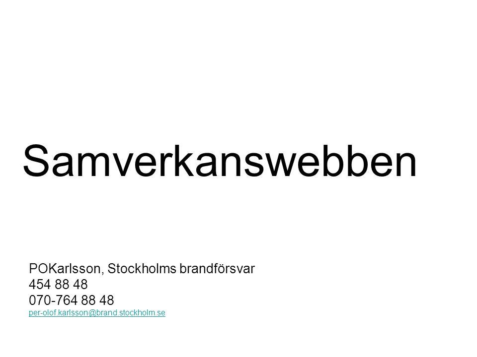 Samverkanswebben POKarlsson, Stockholms brandförsvar 454 88 48 070-764 88 48 per-olof.karlsson@brand.stockholm.se
