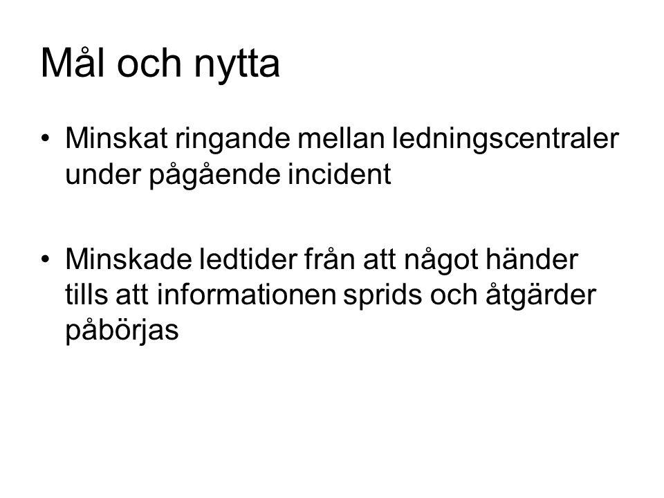 Informationsbehov STOCKHOLMS BRANDFÖRSVAR OCH SOS ALARM vill ha Information om vägrelaterade störningar med stor påverkan på framkomligheten.