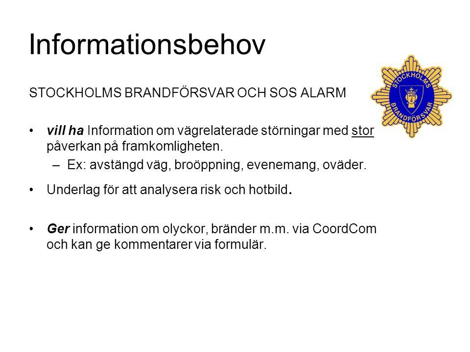 Informationsbehov STOCKHOLMS BRANDFÖRSVAR OCH SOS ALARM vill ha Information om vägrelaterade störningar med stor påverkan på framkomligheten. –Ex: avs