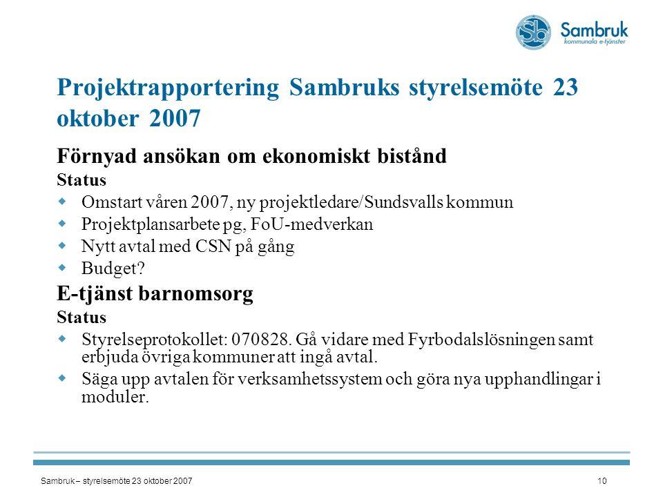Sambruk – styrelsemöte 23 oktober 200710 Projektrapportering Sambruks styrelsemöte 23 oktober 2007 Förnyad ansökan om ekonomiskt bistånd Status  Omst
