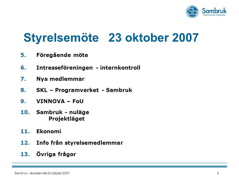 Sambruk – styrelsemöte 23 oktober 20072 Styrelsemöte 23 oktober 2007 5.Föregående möte 6.Intresseföreningen - internkontroll 7.Nya medlemmar 8.SKL – P