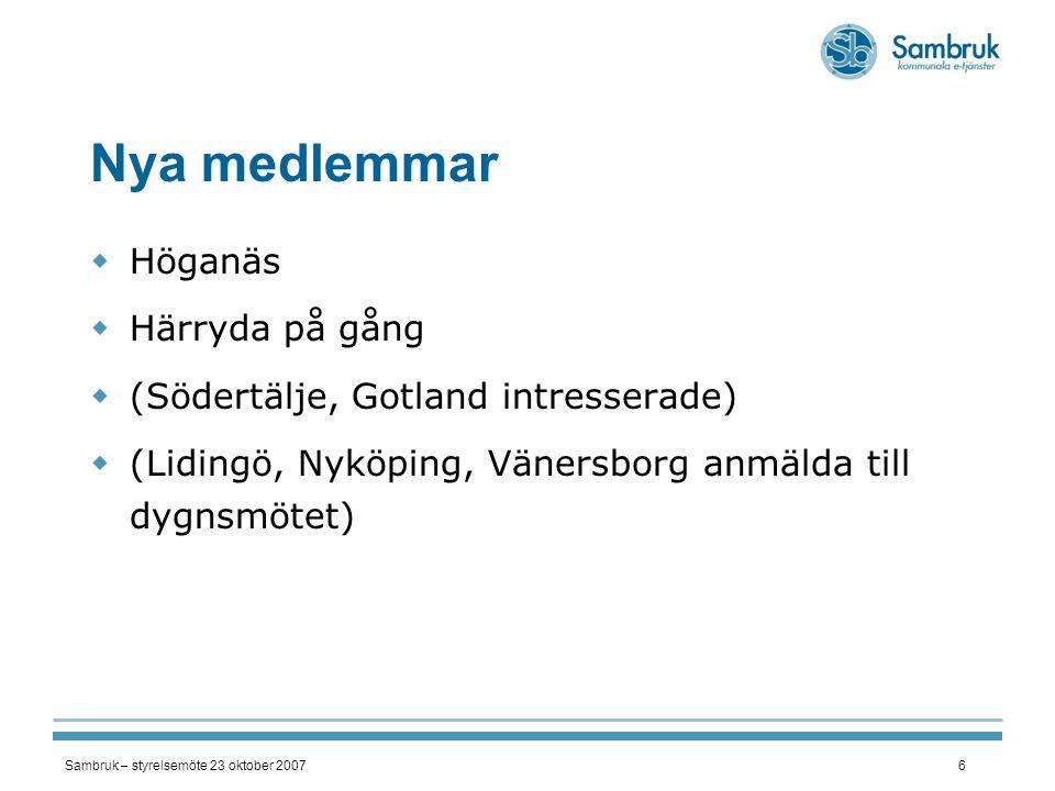 Sambruk – styrelsemöte 23 oktober 20076 Nya medlemmar  Höganäs  Härryda på gång  (Södertälje, Gotland intresserade)  (Lidingö, Nyköping, Vänersbor