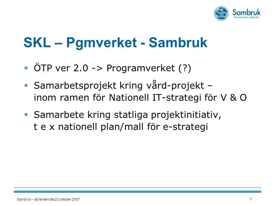 Sambruk – styrelsemöte 23 oktober 20077 SKL – Pgmverket - Sambruk  ÖTP ver 2.0 -> Programverket (?)  Samarbetsprojekt kring vård-projekt – inom rame