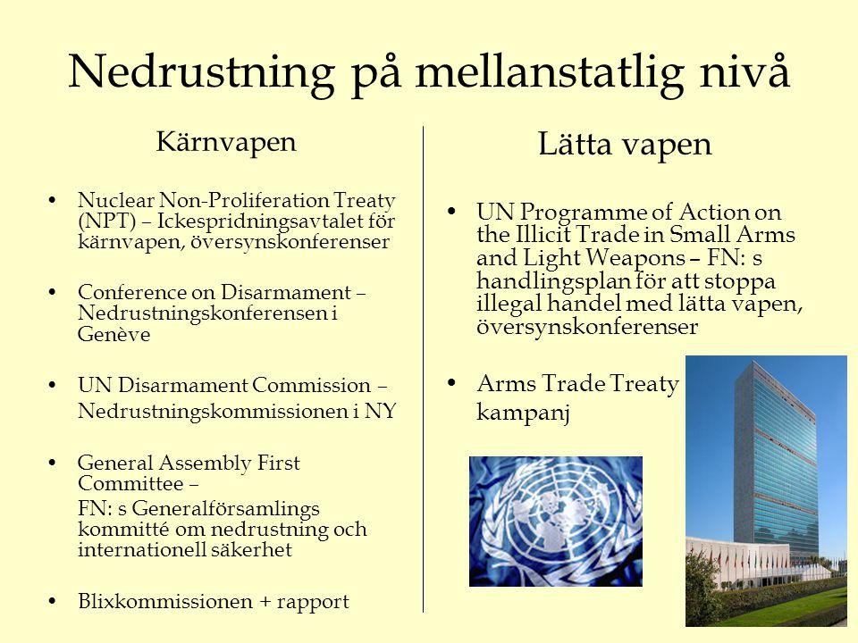 Nedrustning på mellanstatlig nivå Kärnvapen Nuclear Non-Proliferation Treaty (NPT) – Ickespridningsavtalet för kärnvapen, översynskonferenser Conference on Disarmament – Nedrustningskonferensen i Genève UN Disarmament Commission – Nedrustningskommissionen i NY General Assembly First Committee – FN: s Generalförsamlings kommitté om nedrustning och internationell säkerhet Blixkommissionen + rapport Lätta vapen UN Programme of Action on the Illicit Trade in Small Arms and Light Weapons – FN: s handlingsplan för att stoppa illegal handel med lätta vapen, översynskonferenser Arms Trade Treaty kampanj