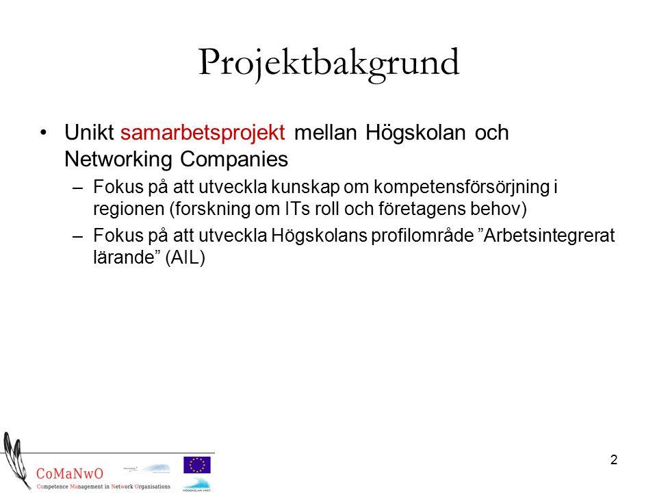 2 Projektbakgrund Unikt samarbetsprojekt mellan Högskolan och Networking Companies –Fokus på att utveckla kunskap om kompetensförsörjning i regionen (forskning om ITs roll och företagens behov) –Fokus på att utveckla Högskolans profilområde Arbetsintegrerat lärande (AIL)