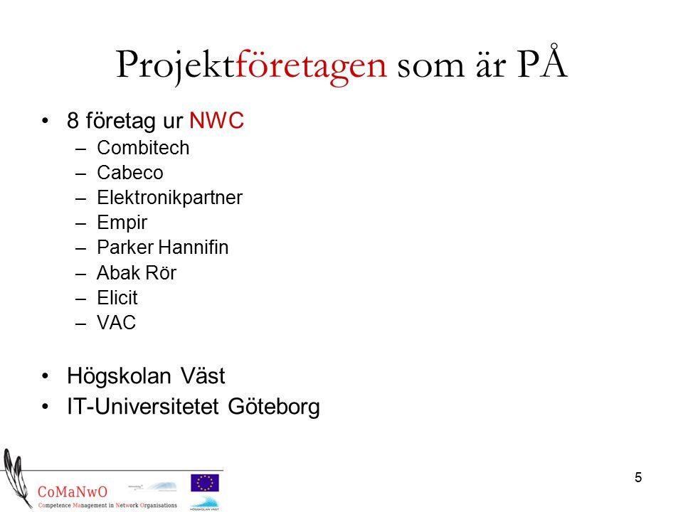 5 Projektföretagen som är PÅ 8 företag ur NWC –Combitech –Cabeco –Elektronikpartner –Empir –Parker Hannifin –Abak Rör –Elicit –VAC Högskolan Väst IT-Universitetet Göteborg