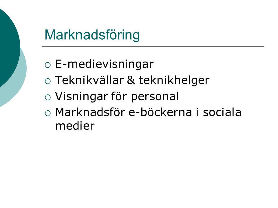 Marknadsföring  E-medievisningar  Teknikvällar & teknikhelger  Visningar för personal  Marknadsför e-böckerna i sociala medier