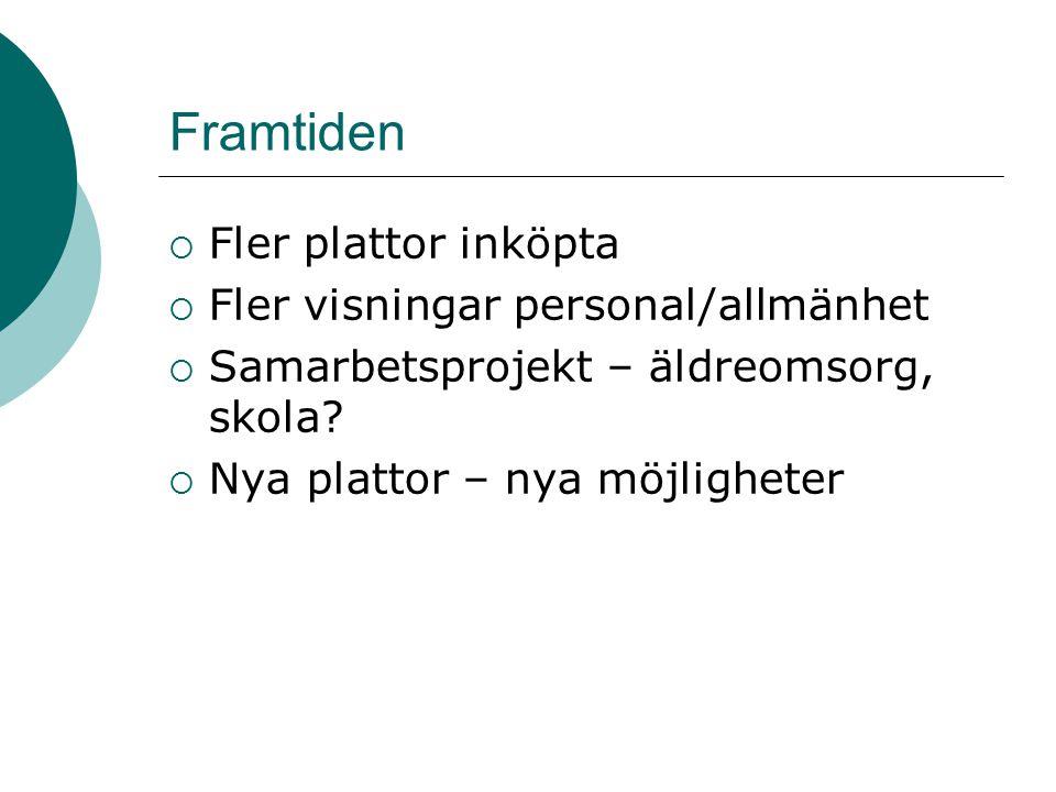 Framtiden  Fler plattor inköpta  Fler visningar personal/allmänhet  Samarbetsprojekt – äldreomsorg, skola.