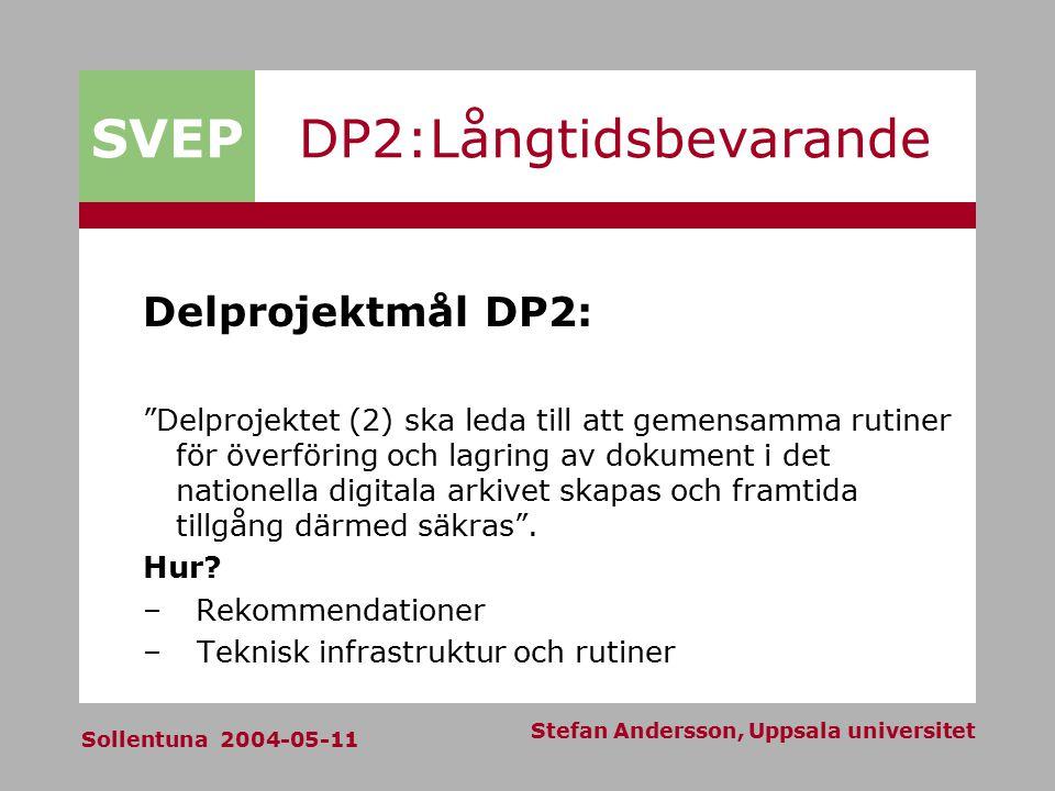SVEP Sollentuna 2004-05-11 Stefan Andersson, Uppsala universitet DP2:Långtidsbevarande Delprojektmål DP2: Delprojektet (2) ska leda till att gemensamma rutiner för överföring och lagring av dokument i det nationella digitala arkivet skapas och framtida tillgång därmed säkras .