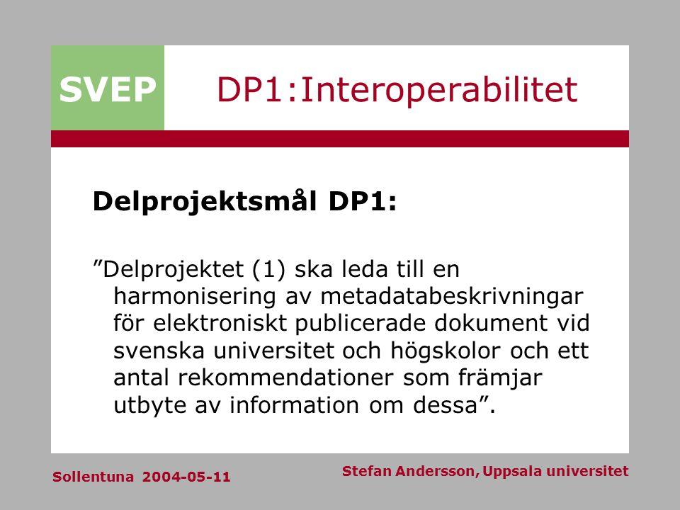 SVEP Sollentuna 2004-05-11 Stefan Andersson, Uppsala universitet DP1:Interoperabilitet Delprojektsmål DP1: Delprojektet (1) ska leda till en harmonisering av metadatabeskrivningar för elektroniskt publicerade dokument vid svenska universitet och högskolor och ett antal rekommendationer som främjar utbyte av information om dessa .