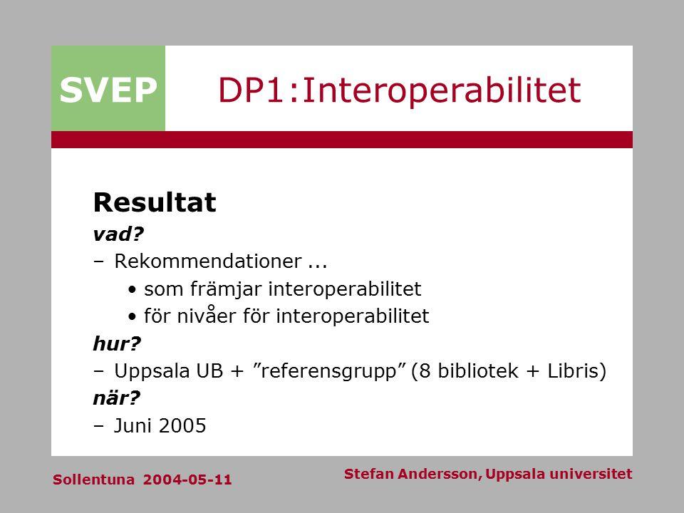 SVEP Sollentuna 2004-05-11 Stefan Andersson, Uppsala universitet DP1:Interoperabilitet Resultat vad? –Rekommendationer... som främjar interoperabilite