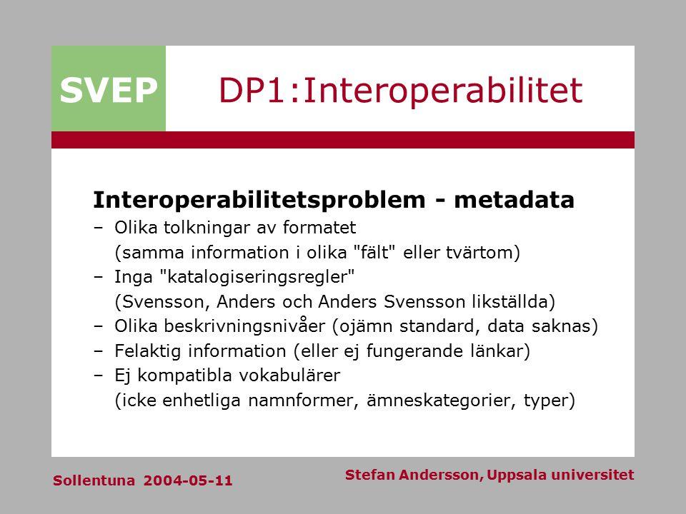 SVEP Sollentuna 2004-05-11 Stefan Andersson, Uppsala universitet DP1:Interoperabilitet Interoperabilitetsproblem - metadata –Olika tolkningar av forma