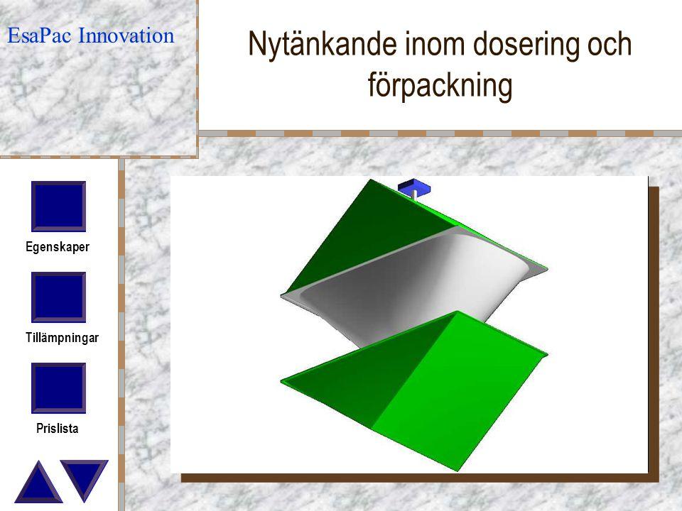 Egenskaper Tillämpningar Prislista Nytänkande inom dosering och förpackning EsaPac Innovation