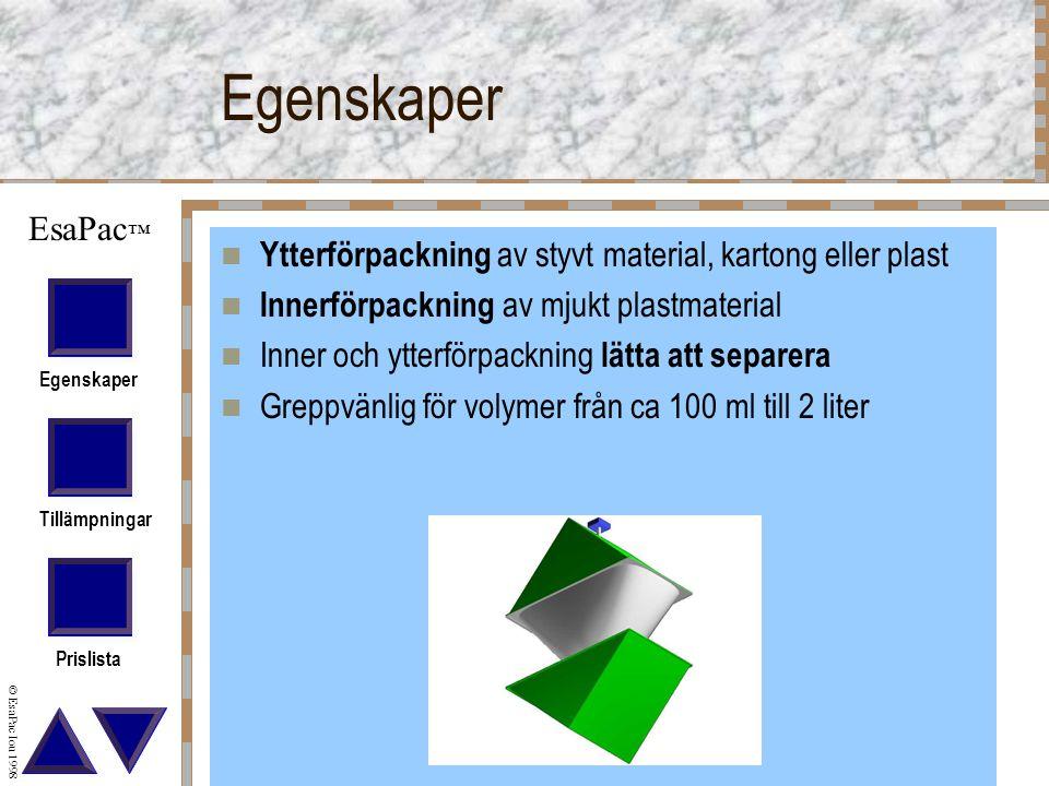 Egenskaper Tillämpningar Prislista © EsaPac Iou 1998 EsaPac ™ Egenskaper Ytterförpackning av styvt material, kartong eller plast Innerförpackning av mjukt plastmaterial Inner och ytterförpackning lätta att separera Greppvänlig för volymer från ca 100 ml till 2 liter