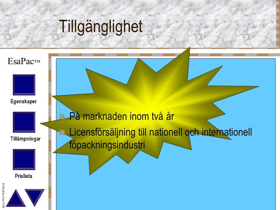 Egenskaper Tillämpningar Prislista © EsaPac Iou 1998 EsaPac ™ Tillgänglighet På marknaden inom två år Licensförsäljning till nationell och internationell föpackningsindustri