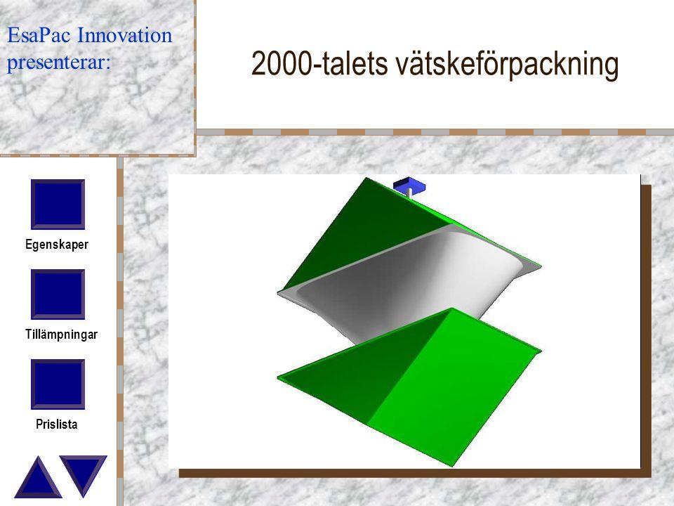 Egenskaper Tillämpningar Prislista 2000-talets vätskeförpackning EsaPac Innovation presenterar: