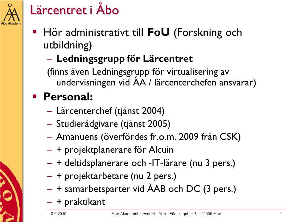 6.5.2010Åbo Akademi/Lärcentret i Åbo - Fänriksgatan 3 - 20500 Åbo16 Skriftligt stödmaterial på LC:s webbsidor http://www.abo.fi/personal/stodmaterial http://www.abo.fi/personal/stodmaterial  Avändarguider för programvaror, olika tekniska apparater och tillämpningar (Moodle, Adobe ConnectPro, Adobe Presenter, e-lomake, Urkund, digispelare, streaming, videofilmning, videokonferensing mm.)  Kursplanering vid ÅA – en praktisk handbok  Guide för undervisande personal och Guide för egenlärararbetet  Pedagogiska kompendier: Aktiverande metoder, Examinationsguider, E- handbok, Handledning på nätkurser, Peer feedback, Handledning på masskurser  Modellavtal för upphovsrätt  Underlag för kursplanering, allmänna anvisningar, övningsuppgifter och examinationsformer mm  Handbok för utveckling av nätkurser (dvs.