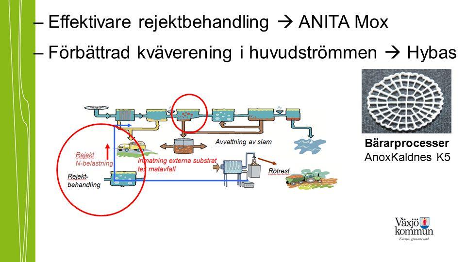 –Effektivare rejektbehandling  ANITA Mox –Förbättrad kväverening i huvudströmmen  Hybas Bärarprocesser AnoxKaldnes K5