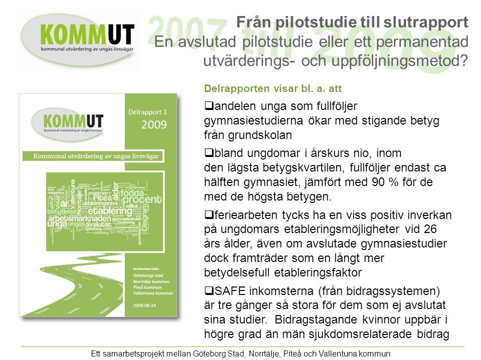 Ett samarbetsprojekt mellan Göteborg Stad, Norrtälje, Piteå och Vallentuna kommun Från pilotstudie till slutrapport En avslutad pilotstudie eller ett permanentad utvärderings- och uppföljningsmetod.