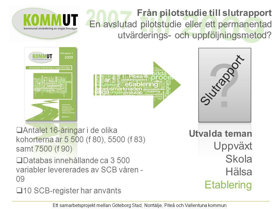 Ett samarbetsprojekt mellan Göteborg Stad, Norrtälje, Piteå och Vallentuna kommun Från pilotstudie till slutrapport En avslutad pilotstudie eller ett