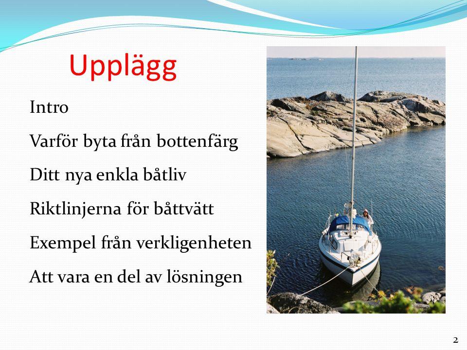2 Upplägg Intro Varför byta från bottenfärg Ditt nya enkla båtliv Riktlinjerna för båttvätt Exempel från verkligenheten Att vara en del av lösningen
