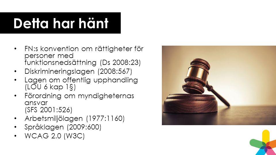Detta har hänt FN:s konvention om rättigheter för personer med funktionsnedsättning (Ds 2008:23) Diskrimineringslagen (2008:567) Lagen om offentlig upphandling (LOU 6 kap 1§) Förordning om myndigheternas ansvar (SFS 2001:526) Arbetsmiljölagen (1977:1160) Språklagen (2009:600) WCAG 2.0 (W3C)