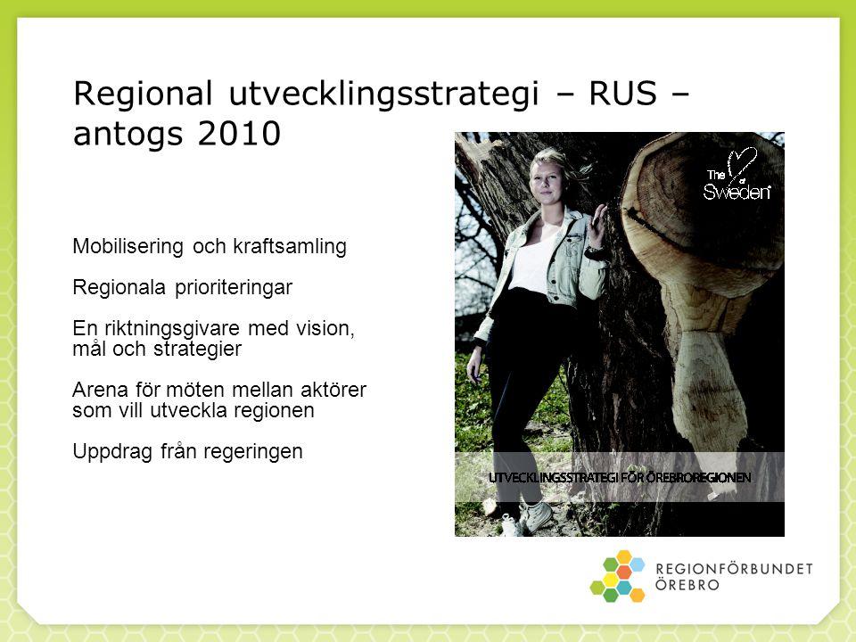 Regional utvecklingsstrategi – RUS – antogs 2010 Mobilisering och kraftsamling Regionala prioriteringar En riktningsgivare med vision, mål och strategier Arena för möten mellan aktörer som vill utveckla regionen Uppdrag från regeringen