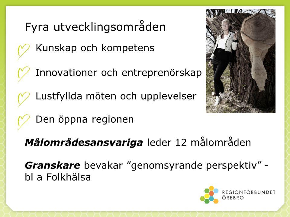 Fyra utvecklingsområden Kunskap och kompetens Innovationer och entreprenörskap Lustfyllda möten och upplevelser Den öppna regionen Målområdesansvariga