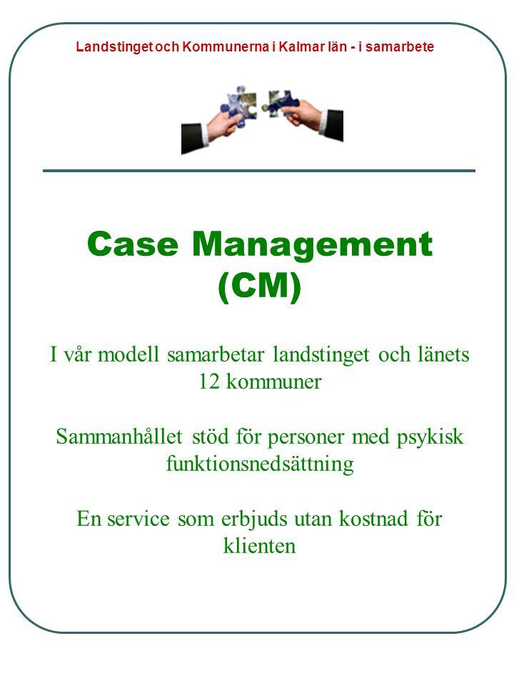 Case Management (CM) I vår modell samarbetar landstinget och länets 12 kommuner Sammanhållet stöd för personer med psykisk funktionsnedsättning En service som erbjuds utan kostnad för klienten Landstinget och Kommunerna i Kalmar län - i samarbete