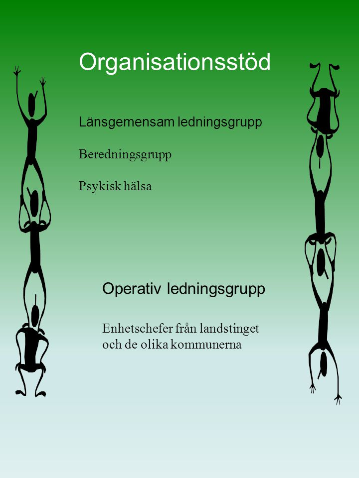 Organisationsstöd Operativ ledningsgrupp Enhetschefer från landstinget och de olika kommunerna Länsgemensam ledningsgrupp Beredningsgrupp Psykisk hälsa