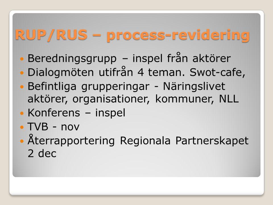 RUP/RUS – process-revidering Beredningsgrupp – inspel från aktörer Dialogmöten utifrån 4 teman.