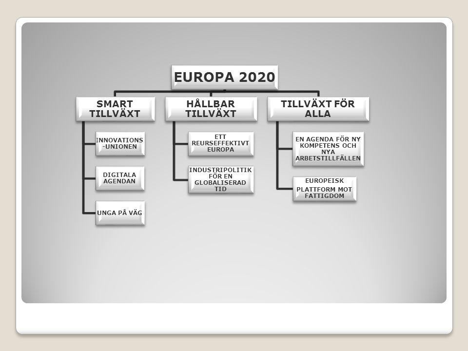 EUROPA 2020 SMART TILLVÄXT INNOVATIONS -UNIONEN DIGITALA AGENDAN UNGA PÅ VÄG HÅLLBAR TILLVÄXT ETT REURSEFFEKTIVT EUROPA INDUSTRIPOLITIK FÖR EN GLOBALISERAD TID TILLVÄXT FÖR ALLA EN AGENDA FÖR NY KOMPETENS OCH NYA ARBETSTILLFÄLLEN EUROPEISK PLATTFORM MOT FATTIGDOM