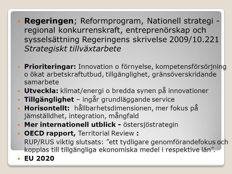Regeringen; Reformprogram, Nationell strategi - regional konkurrenskraft, entreprenörskap och sysselsättning Regeringens skrivelse 2009/10.221 Strategiskt tillväxtarbete Prioriteringar: Innovation o förnyelse, kompetensförsörjning o ökat arbetskraftutbud, tillgänglighet, gränsöverskridande samarbete Utveckla: klimat/energi o bredda synen på innovationer Tillgänglighet – ingår grundläggande service Horisontellt: hållbarhetsdimensionen, mer fokus på jämställdhet, integration, mångfald Mer internationell utblick - östersjöstrategin OECD rapport, Territorial Review : RUP/RUS viktig slutsats: ett tydligare genomförandefokus och kopplas till tillgängliga ekonomiska medel i respektive län .