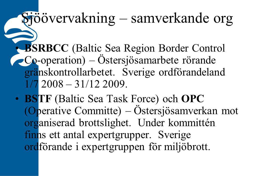 Sjöövervakning – samverkande org BSRBCC (Baltic Sea Region Border Control Co-operation) – Östersjösamarbete rörande gränskontrollarbetet.