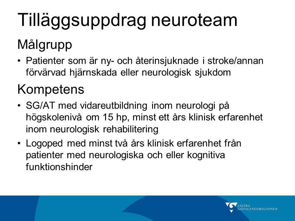 Tilläggsuppdrag neuroteam Målgrupp Patienter som är ny- och återinsjuknade i stroke/annan förvärvad hjärnskada eller neurologisk sjukdom Kompetens SG/