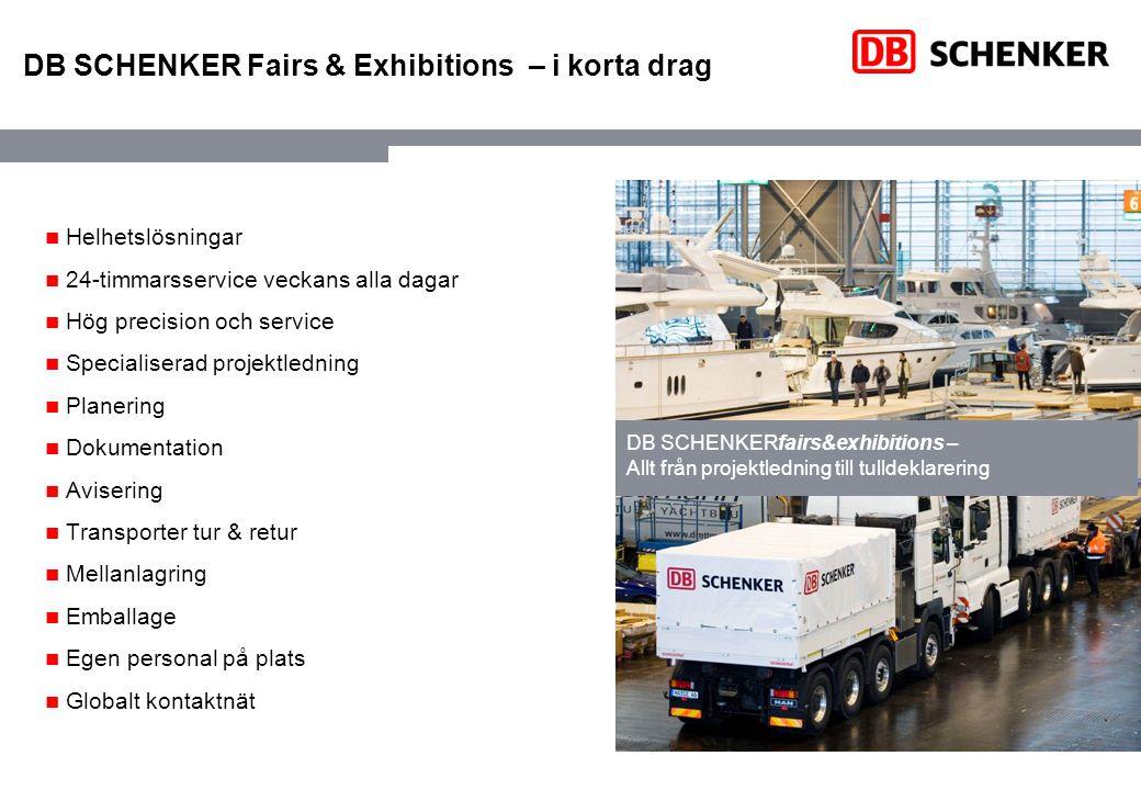 DB SCHENKER Fairs & Exhibitions – i korta drag Helhetslösningar 24-timmarsservice veckans alla dagar Hög precision och service Specialiserad projektle