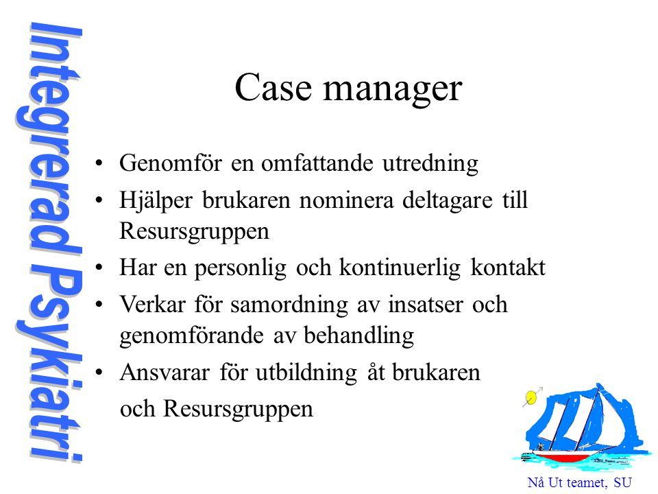 Case manager Genomför en omfattande utredning Hjälper brukaren nominera deltagare till Resursgruppen Har en personlig och kontinuerlig kontakt Verkar för samordning av insatser och genomförande av behandling Ansvarar för utbildning åt brukaren och Resursgruppen Nå Ut teamet, SU