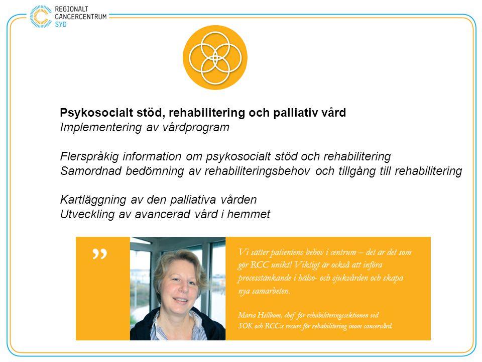 Psykosocialt stöd, rehabilitering och palliativ vård Implementering av vårdprogram Flerspråkig information om psykosocialt stöd och rehabilitering Samordnad bedömning av rehabiliteringsbehov och tillgång till rehabilitering Kartläggning av den palliativa vården Utveckling av avancerad vård i hemmet