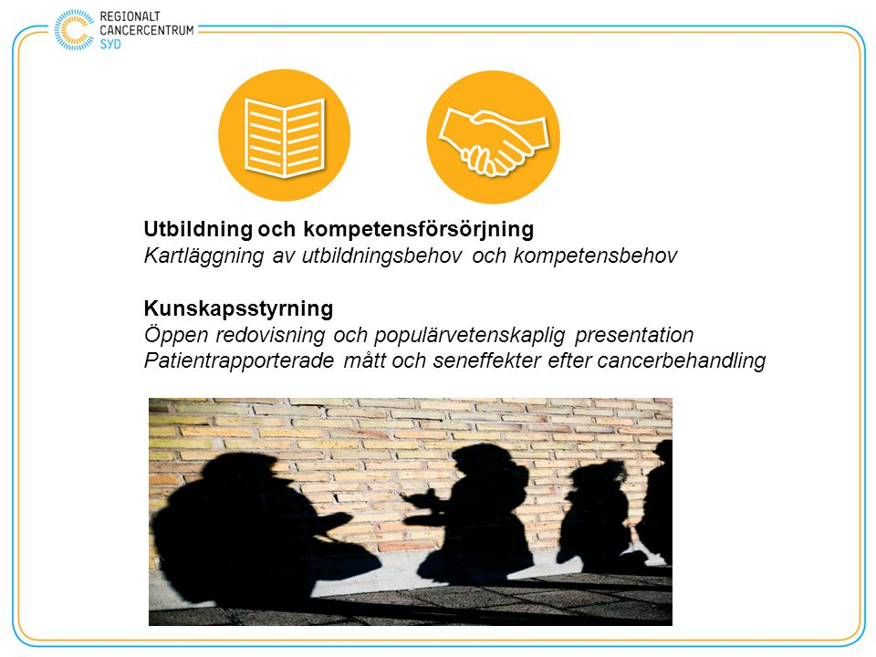 Utbildning och kompetensförsörjning Kartläggning av utbildningsbehov och kompetensbehov Kunskapsstyrning Öppen redovisning och populärvetenskaplig presentation Patientrapporterade mått och seneffekter efter cancerbehandling