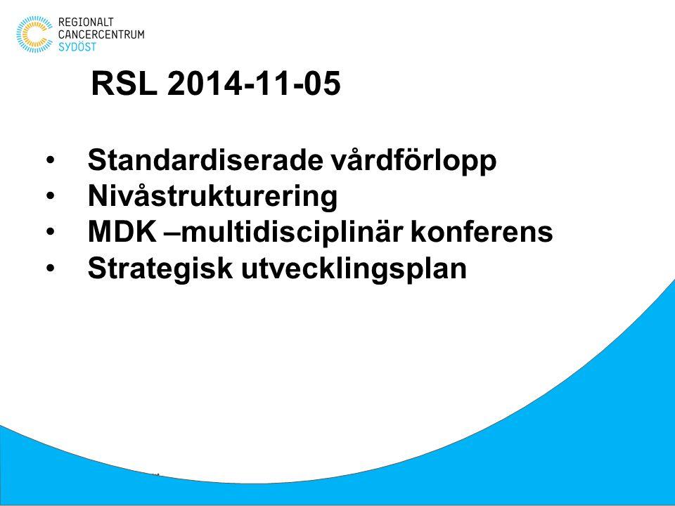 Standardiserade vårdförlopp Nivåstrukturering MDK –multidisciplinär konferens Strategisk utvecklingsplan RSL 2014-11-05