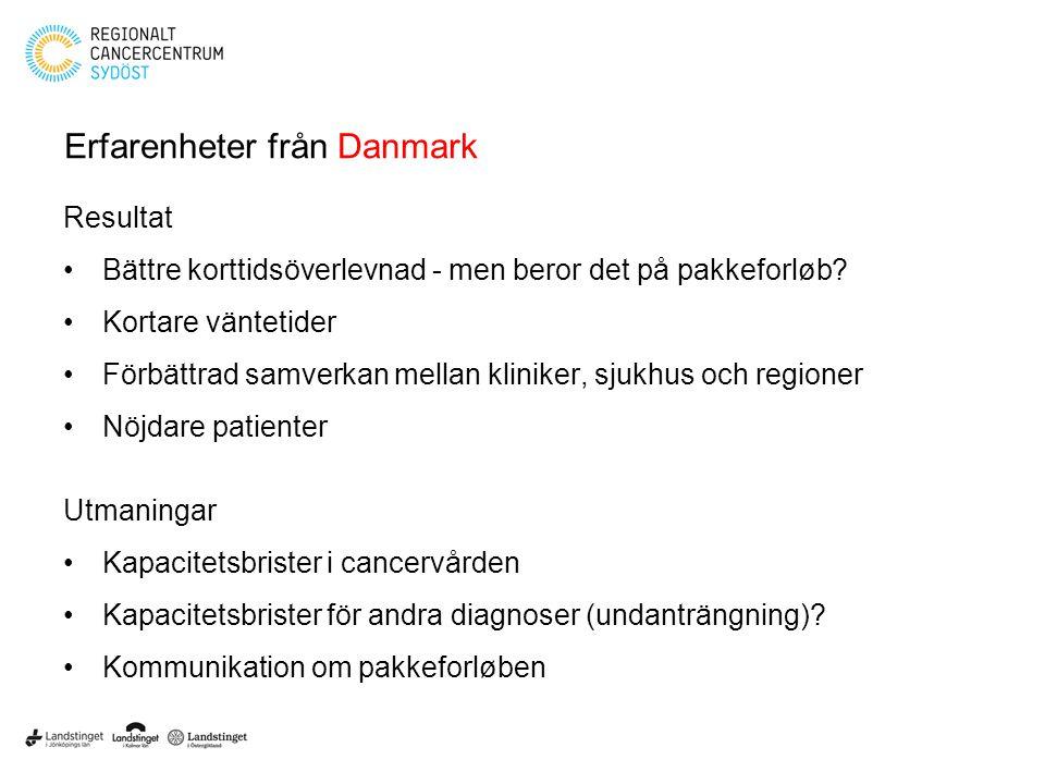 Erfarenheter från Danmark Resultat Bättre korttidsöverlevnad - men beror det på pakkeforløb? Kortare väntetider Förbättrad samverkan mellan kliniker,