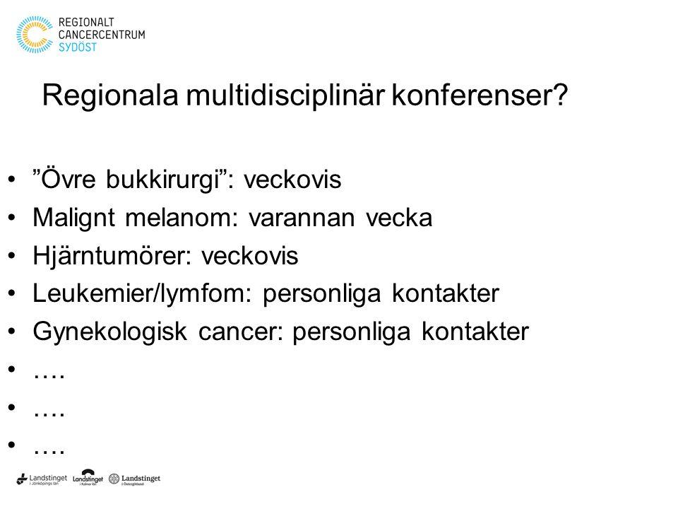 """Regionala multidisciplinär konferenser? """"Övre bukkirurgi"""": veckovis Malignt melanom: varannan vecka Hjärntumörer: veckovis Leukemier/lymfom: personlig"""