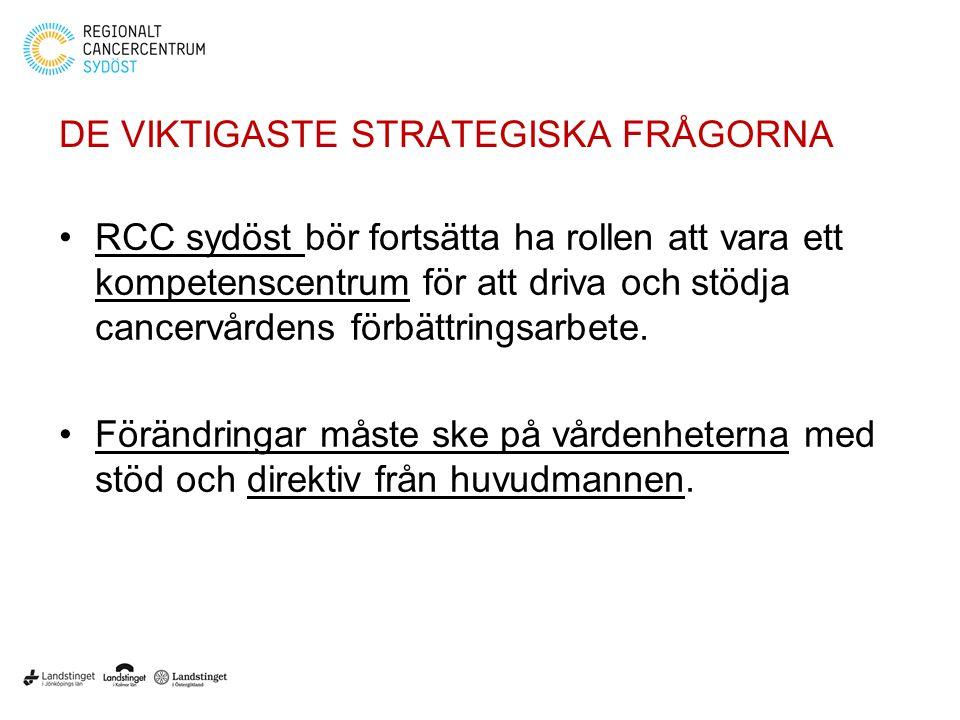 DE VIKTIGASTE STRATEGISKA FRÅGORNA RCC sydöst bör fortsätta ha rollen att vara ett kompetenscentrum för att driva och stödja cancervårdens förbättring