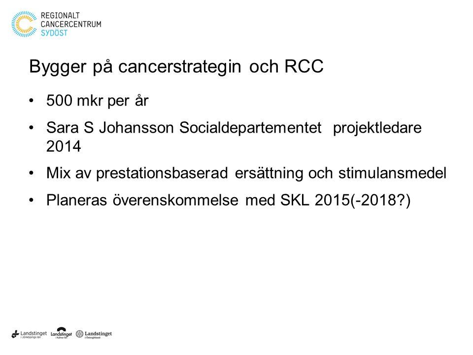 Bygger på cancerstrategin och RCC 500 mkr per år Sara S Johansson Socialdepartementet projektledare 2014 Mix av prestationsbaserad ersättning och stim
