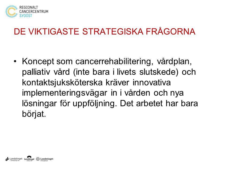 DE VIKTIGASTE STRATEGISKA FRÅGORNA Koncept som cancerrehabilitering, vårdplan, palliativ vård (inte bara i livets slutskede) och kontaktsjuksköterska