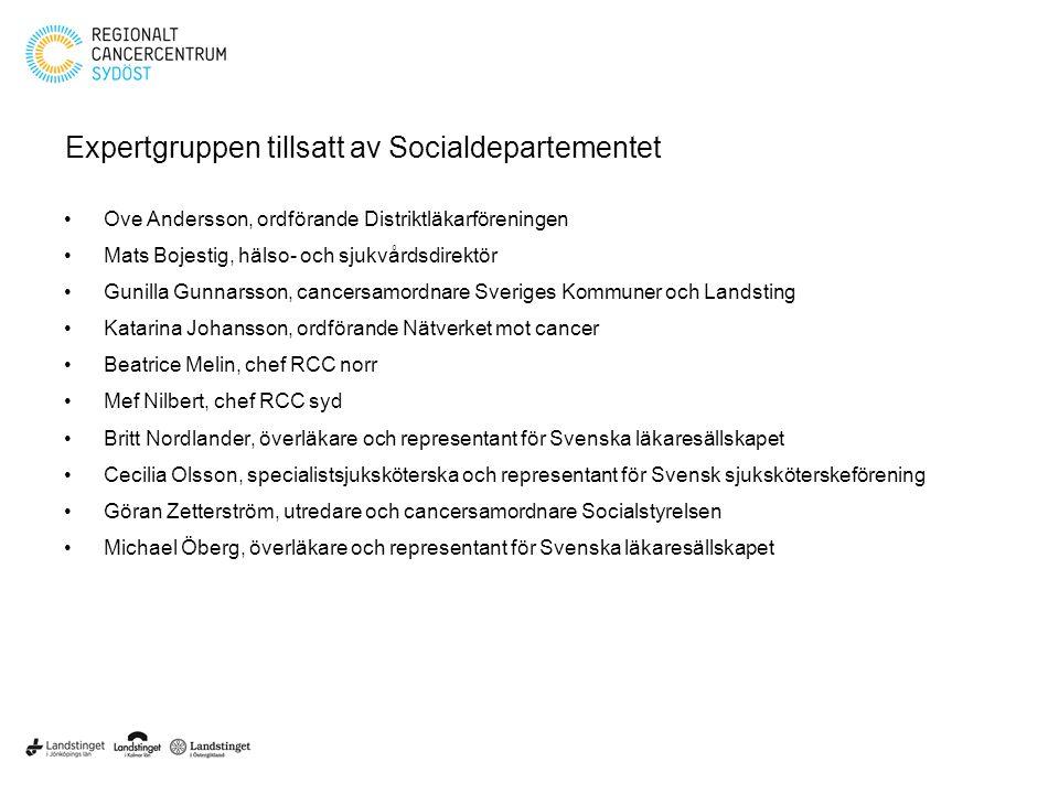 Expertgruppen tillsatt av Socialdepartementet Ove Andersson, ordförande Distriktläkarföreningen Mats Bojestig, hälso- och sjukvårdsdirektör Gunilla Gu