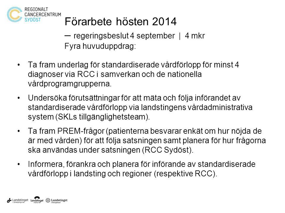 Förarbete hösten 2014 – regeringsbeslut 4 september   4 mkr Fyra huvuduppdrag: Ta fram underlag för standardiserade vårdförlopp för minst 4 diagnoser