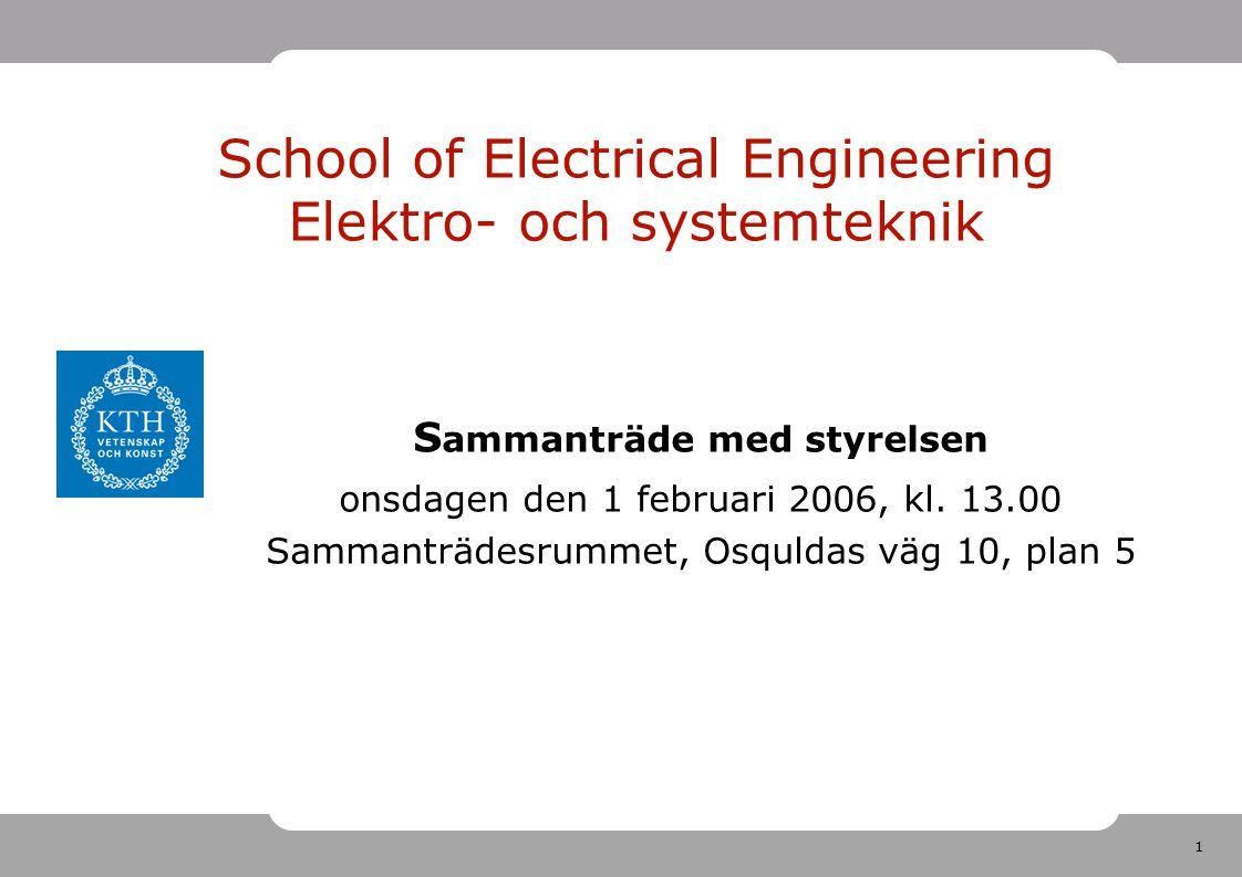 1 School of Electrical Engineering Elektro- och systemteknik S ammanträde med styrelsen onsdagen den 1 februari 2006, kl. 13.00 Sammanträdesrummet, Os