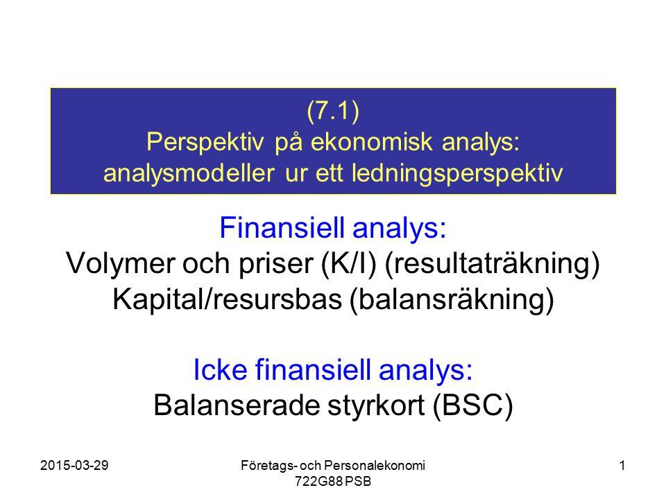 2015-03-29Företags- och Personalekonomi 722G88 PSB 1 (7.1) Perspektiv på ekonomisk analys: analysmodeller ur ett ledningsperspektiv Finansiell analys: