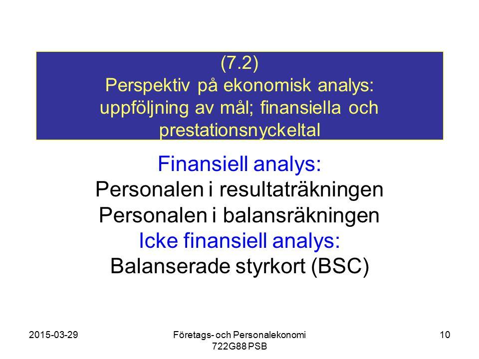 2015-03-29Företags- och Personalekonomi 722G88 PSB 10 (7.2) Perspektiv på ekonomisk analys: uppföljning av mål; finansiella och prestationsnyckeltal F